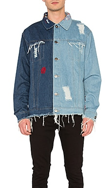 Contrast Distressed Denim Jacket