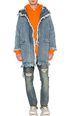 Denim Parka in Washed Blue