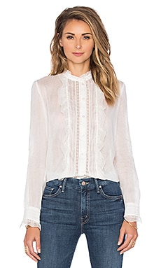 Ruffle Front Blouse in White
