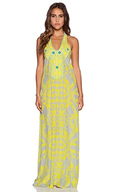 Caffe Halter Maxi Dress in Yellow & Grey