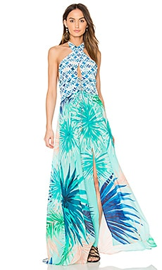 Keyhole Maxi Dress en Carreaux bleu