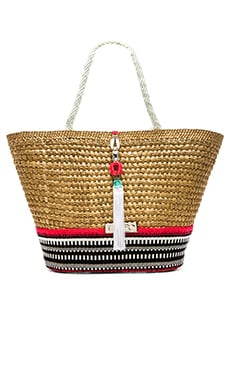 Caffe Woven Embellished Tote Bag in Natural