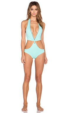 Caffe Woven Cut Out Swimsuit in Mint Green