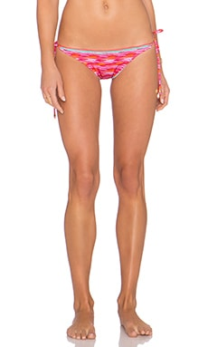 Caffe Woven Side Tie Bikini Bottom in Fuschia