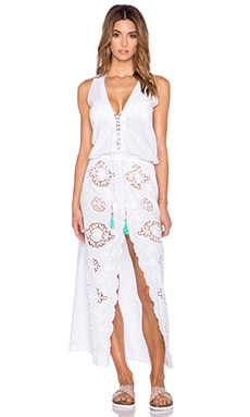 Caffe Open Front Maxi Dress in White