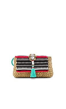 Caffe Woven Embellished Clutch in Natural