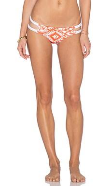 Caffe Braided Side Bikini Bottom in Orange & White