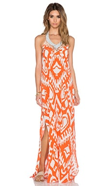 Caffe Embroidered Halter Maxi Dress in White & Orange