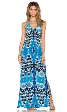 Caffe Side Tie Halter Maxi Dress in Multi