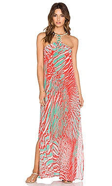 Caffe Silk Maxi Dress in Coral Reef