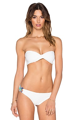 Caffe Twist Bandeau Bikini Top in White