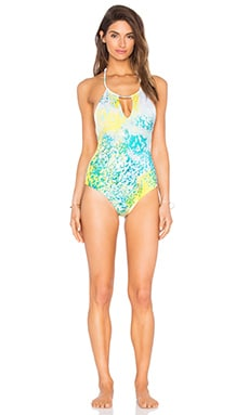 Animal Halter Swimsuit in Turquoise & Yellow