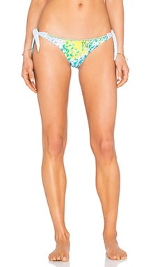 Animal Side Tie Bikini Bottom in Turquoise & Yellow