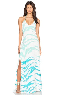 Caffe Halter Necklace Maxi Dress in Turquoise Tiger