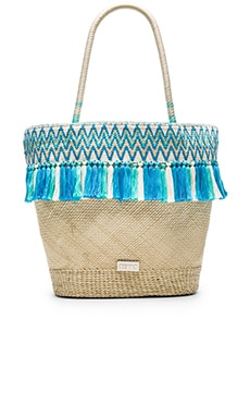 Caffe Beach Bag in Natural & Blue
