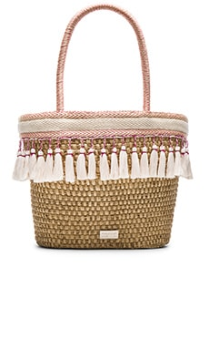 Caffe Beach Bag in Natural & Pink