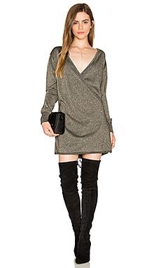 Shimmer Wrap Mini Dress in Black
