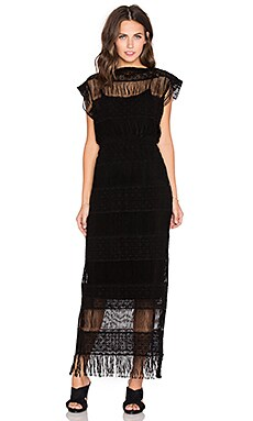 Callahan Crochet Maxi Dress in Black