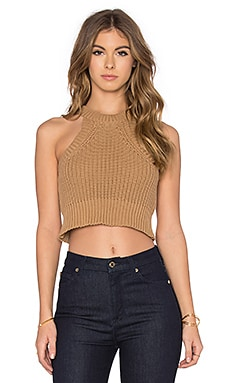 Crop Knit Tank in Camel