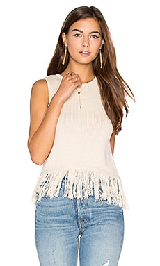 Fringe Crop Sweater Tank in Buttercream
