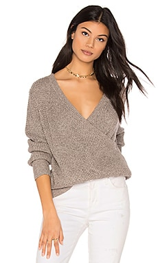 Waffle Deep Wrap Sweater
