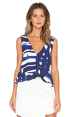 C/MEO Sidelines Top in Blue Paint Print