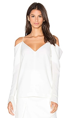Cold Shoulder Long Sleeve Top in Ivory