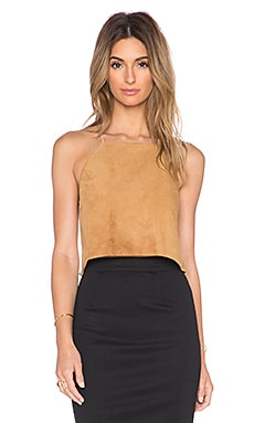 The Suede Crop Top in Camel