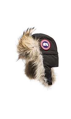 Canada Goose Aviator Hat with Coyote Fur Trim in Black