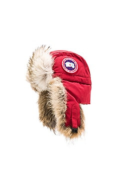 Canada Goose Aviator Coyote Fur Trim Hat in Redwood