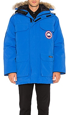 Canada Goose Polar Bears International Expedition Coyote Fur Trim Parka in Royal PBI Blue