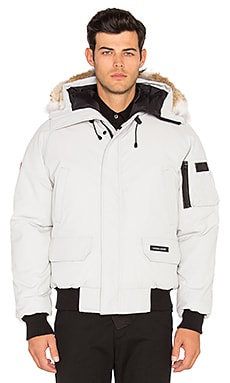 Canada Goose Chilliwack Coyote Fur Trim Bomber in Silverbirch Discontinued