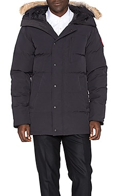 Carson Coyote Fur Trim Parka in Navy
