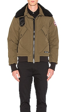 Canada Goose Bromley Shearling Collar Bomber in Military Green
