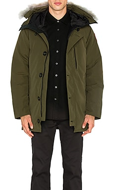 Chateau Coyote Fur Trim Parka in Military Green