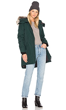 Rossclair Coyote Fur Parka in Alonquin Green