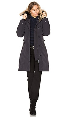 Kensington Parka with Coyote Fur Trim in Navy