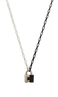 Cast of Vices Two-Tone Lock Necklace in Black