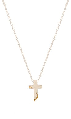 Cast of Vices Sterling Silver With Gold Fill Cross Necklace in Silver & Gold