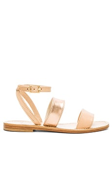 Capri Positano Classic Band Two Tone Sandal in Rose Gold & Natural