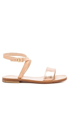 Capri Positano Ankle Wrap Sandal in Rose Gold & Light Tan