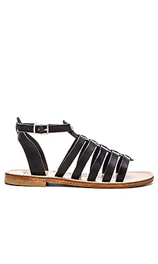 Capri Positano Gladiator Ankle Band & Strap Sandal in Black