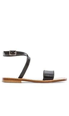 Capri Positano Ankle Wrap Single Bar Sandal in Black