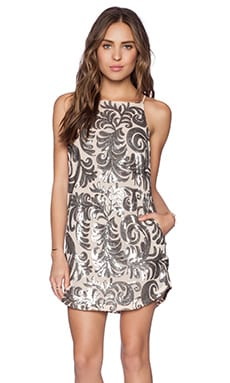 Capulet Embroidered Baroque Shift Dress in Silver