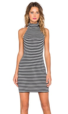 Capulet Sleeveless Turtleneck Dress in Navy & Heather Stripe