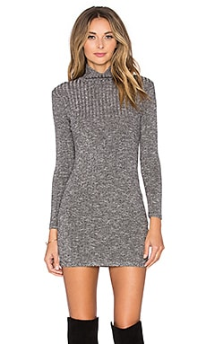 Capulet Long Sleeve Turtleneck Sweater Dress in Black Rib