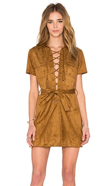 Lace Up Dress in Tobacco