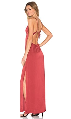 Deep V Maxi Dress in Red