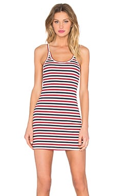 Mini Dress in Red, Cream, & Navy Stripe