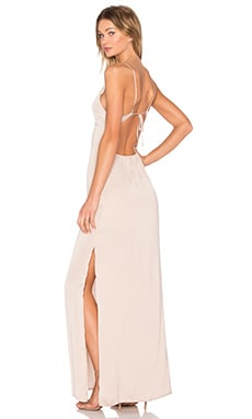 Deep V Maxi Dress in Champagne